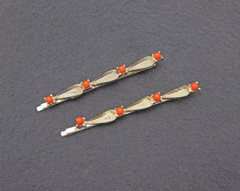 60's vintage bobby pin PAIR, gold tone hair pins w coral orange bead accents