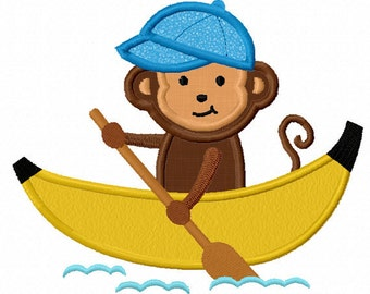 Instant Download Monkey boating Applique Machine Embroidery Design NO:1144