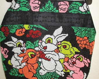 Vintage Plastic Beaded Purse with Bunnies Fused Plastic Beads Bunny Rabbits Handbag Made in Hong Kong