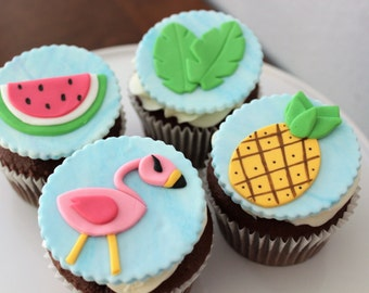 12 Edible Pink Flamingo fondant cupcake toppers. party decor. tropical party. flamingo party. birthday party. baby shower.