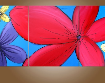 """Wall triptych art """"floral hacienda"""" modern painting Abstract Painting flower floral art  huge wall art large 48 x 20 """""""