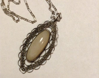 Necklace Pendant Victorian Agate Gemstone With Sterling Silver Filigree Accent