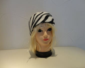 Zebra black and white fleece ear warmer headband
