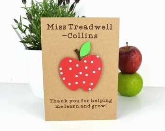 Personalised teacher card apple teacher appreciation card personalized teacher gifts helping me grow