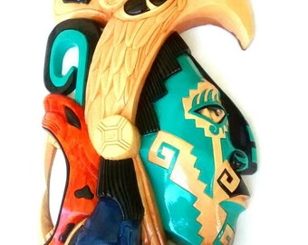 Colorful cedar Eagle Warrior Plaque Giant two feet tall Aztec Maya Mexica Sculpture