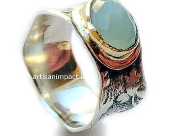 Jade ring, Sterling silver ring, Vine ring, gold silver ring, two tones ring, wedding band, engagement ring, gemstone ring - So calm R2111