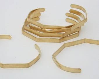 Five Sided Brass Bracelet Cuff Blanks For Jewelry Making 1/4 inch Pkg of 6