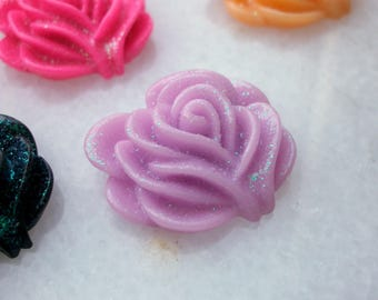 1 flower cabochon pink 20 mm purple with glitter resin Pearl