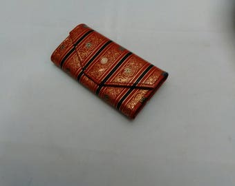 Vintage Collection - Red and gold color leather Mini Key Gard Wallet Made in Italy