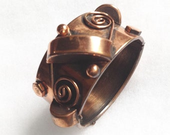 Art Deco Jazz Age copper hinged bangle bracelet ,vintage, statement piece.