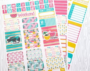 Poolside Paradise Weekly Kit (Set of 45) Item #549 // Bottom Washi only comes in Erin Condren and Plum Paper Size but can be cut to size.