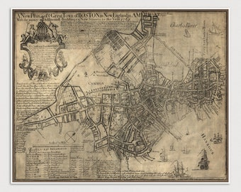 Boston Map, Antique Map Art Print, 1769, Old Map, Archival Reproduction