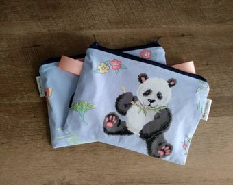 Sweet Pandas Zippered Notions Pouch! Pretty Periwinkle Blue Background!
