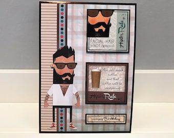 Happy Birthday Hipster - handmade card, birthday card, greetings card, male card, best wishes, hipster, cool, dapper chap, men's card