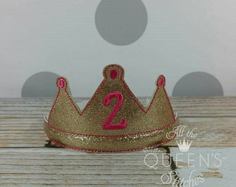 2nd Birthday Party Tiara  - Costume Accessory - Gold Glitter Princess Dress-up Headband Tiara Photo Prop