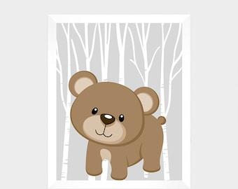 Baby Boy Woodland Nursery Download - Printable Art - Woodland Nursery Art - Baby Decor - Instant Download - Nursery Wall Art - Baby Print