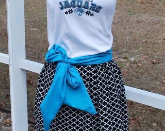 Jacksonville Jaguars Upcycled Shirt Made into Tank Top Dress with pockets, sash included Size M, Ready to Ship!