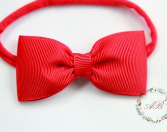 Red Bow Headband - Newborn Red Bow Headband - Baby Bow Headband - Red Bow Headband