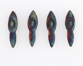 Matte Raku Ceramic 3-D Goddess Beads