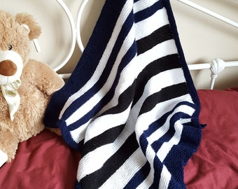 Nautical Striped Baby Blanket in Blue, White and Black.