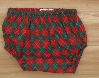 CLEARANCE! 6-12M Christmas Diaper Cover, Baby Boy Christmas Picture Prop, Red and Green Argyle  Diaper Cover