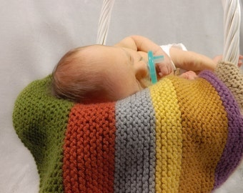 Doctor Who Scarf Inspired - Knit Baby Mini Blanket - Newborn Photography Prop Layering