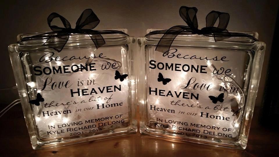 Memorial glass blocks sympathy gift personalized glass for Custom acrylic blocks