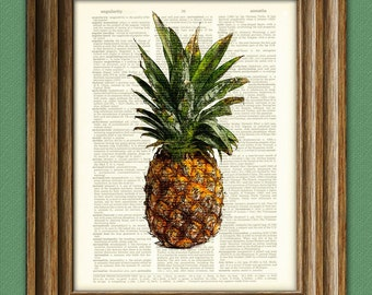 Awesome PINEAPPLE beautifully upcycled dictionary page book art print