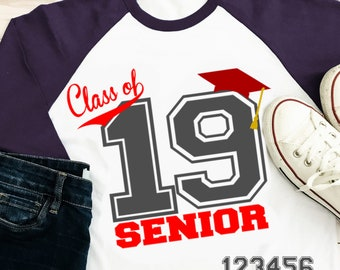 Class of 2019, Graduation SVG, Numbers Senior, High School Graduation, Graduate, Graduating svg, Grad Cap Svg Eps Dxf Png Silhouette, Cricut