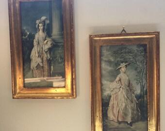 Vintage, Painted, Ladies, Set of Two