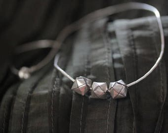 Handmade Thai Silver Necklace with Woven Silver Cubes (N0002)