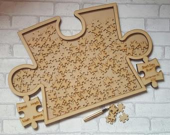 Wedding Puzzle Guest Book, Jigsaw Drop Box, Jigsaw Puzzle Drop box, Guest Book Alternative, Jigsaw Guest Book. Wooden Wedding Guestbook