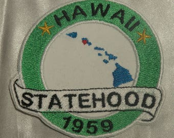 Embroidered Hawaii State Pride Statehood HI Aloha Map Souvenir Patch Iron On Sew On USA