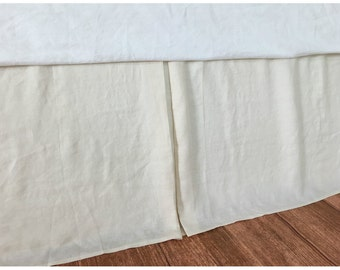 Cream Ivory Tailored Bed Skirt, Drop from 13-26, tailored linen bed skirt, linen bedskirt, Available in Twin, Full, Queen, King, Calif. King