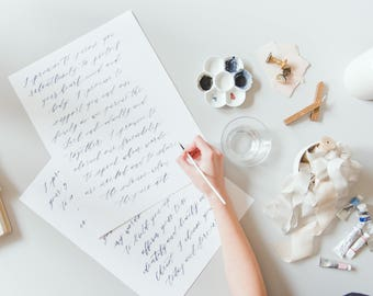 Brush Calligraphy Vows - Wedding Song Lyrics - Custom Wedding Vows Print