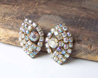 REDUCED Clip On Earrings, Vintage Earrings, Vintage Rhinestone Earrings, Vintage Clip Ons, Prong Set Rhinestones, Flashy, Etsy, Etsy Jewelry