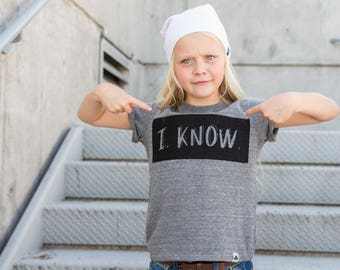 I know gray tee kids shirt funny tee toddler shirt hipster kids clothing trendy kids clothes boys graphic tee girls tee