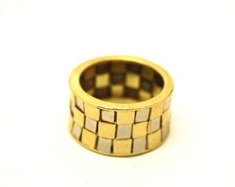 Vintage Van Cleef Arpel checkboard gold ring