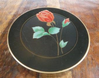 Boxed Set Vintage Otagiri Lacquerware 6 Coasters Red Rose Black Gold Japan