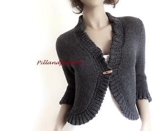 Hand stricken Bolero Frauen stricken Strickjacke gestrickt Merino Wolle Pullover geknöpft Rüschen Grenzen Jacke benutzerdefinierte Farben und Größen