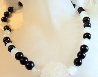 Geode Drusy Druzy Crystal Black and White Choker - Onyx And White Jade - One of a Kind