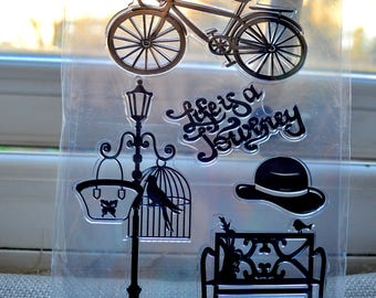 Clear stamps, Bicycle stamp, Bench stamp, Life is a journey stamp, Lamp post stamp, Hat stamp, Clear stamps set, Vintage stamps set, Stamps