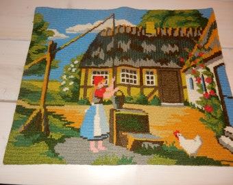 Swedish hand embroidered wall hanging 1960  s  / landshape motif / Skåne