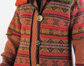 Autumn Colored Sweater Coat/Rust, Olive/ Altered Clothing/ Size Medium/Large