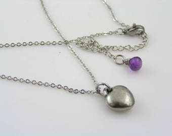 Amethyst Necklace, Heart Necklace, Heart Jewelry, Gift for Women, Gift for Wife, February Birthstone Necklace, Amethyst Jewelry, N2156