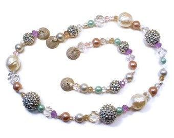 Necklace and Bracelet, Sparkly Crystal, Rhinestone, Metal and Glass Pearl