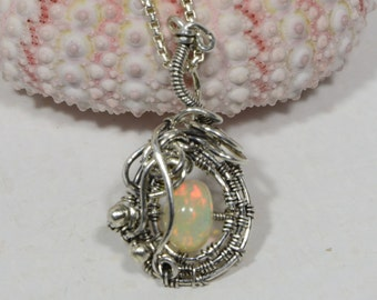 Ethiopian Opal Pendant Wire Wrapped Jewelry  Opal Jewelry Birthstone Jewelry