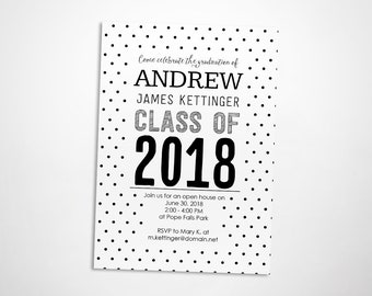 Black and white graduation party invitation, class of 2018, graduation open house invite, dots, custom colors