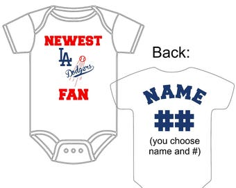 Dodger baby etsy newest los angeles dodgers fan custom made personalized baseball gerber onesie jersey you choose name number negle Image collections