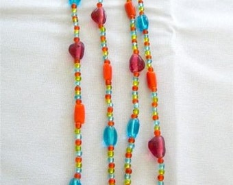 Vintage Long Glass Bead Necklace